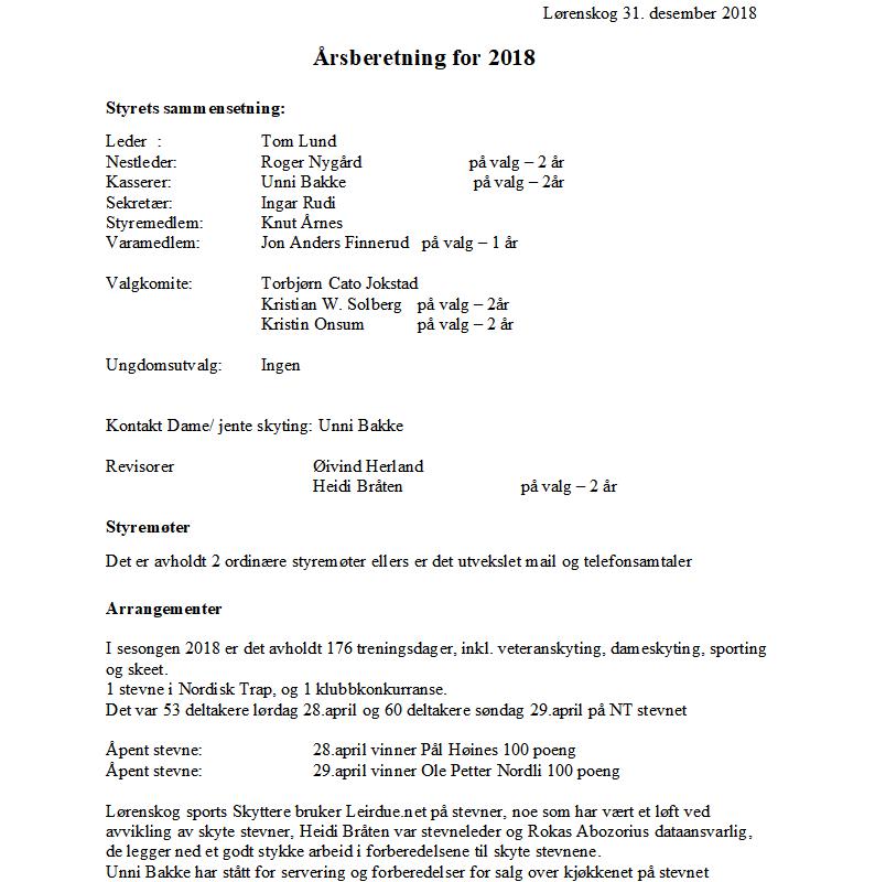 Årsberetning for 2018